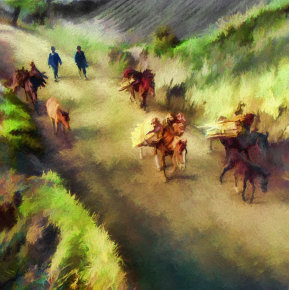 Peasants and Horses Carrying Firewood